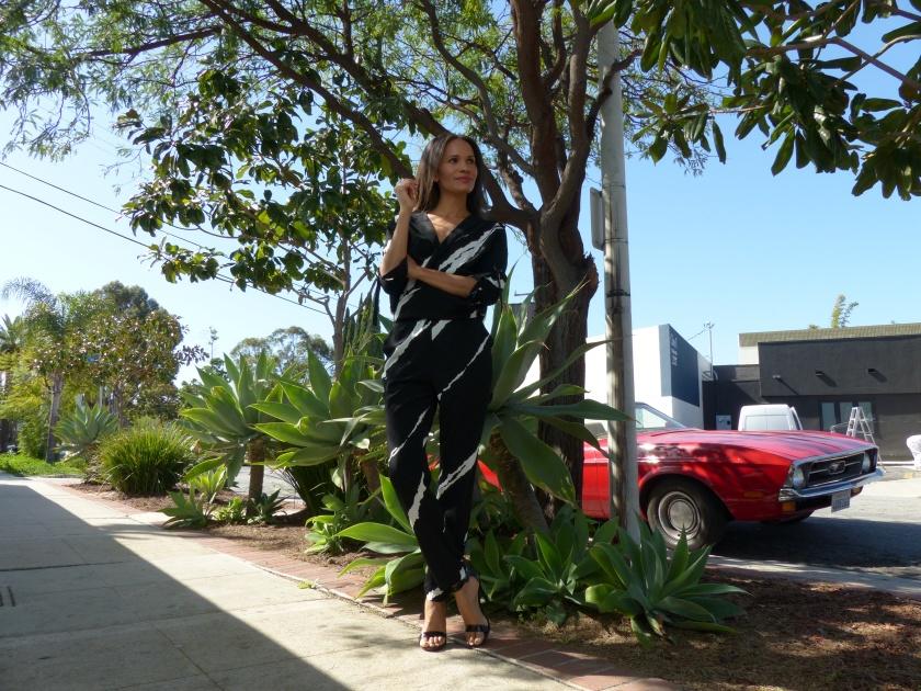 Amanda Luttrell Garrigus Kenneth Cole Striped Jumpsuit w:car