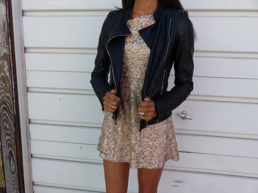 Amanda Garrigus moto jacket and gold dress medium no face