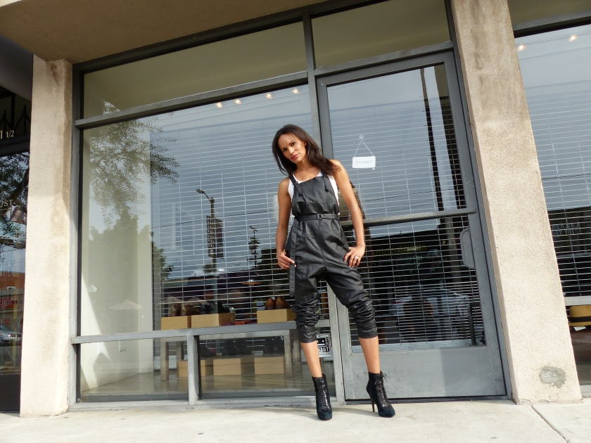 Amanda Luttrell Garrigus Black leather overalls front
