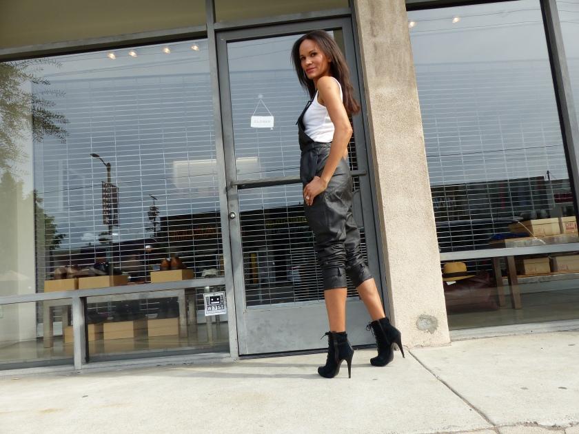 Amanda Luttrell Garrigus black leather overalls profile
