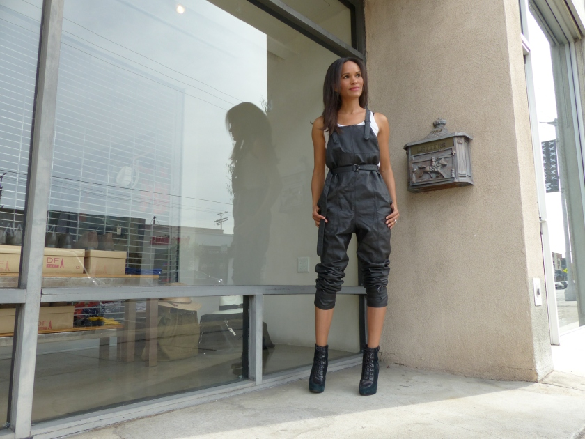 Amanda Luttrell Garrigus Black Leather overalls shaded front view