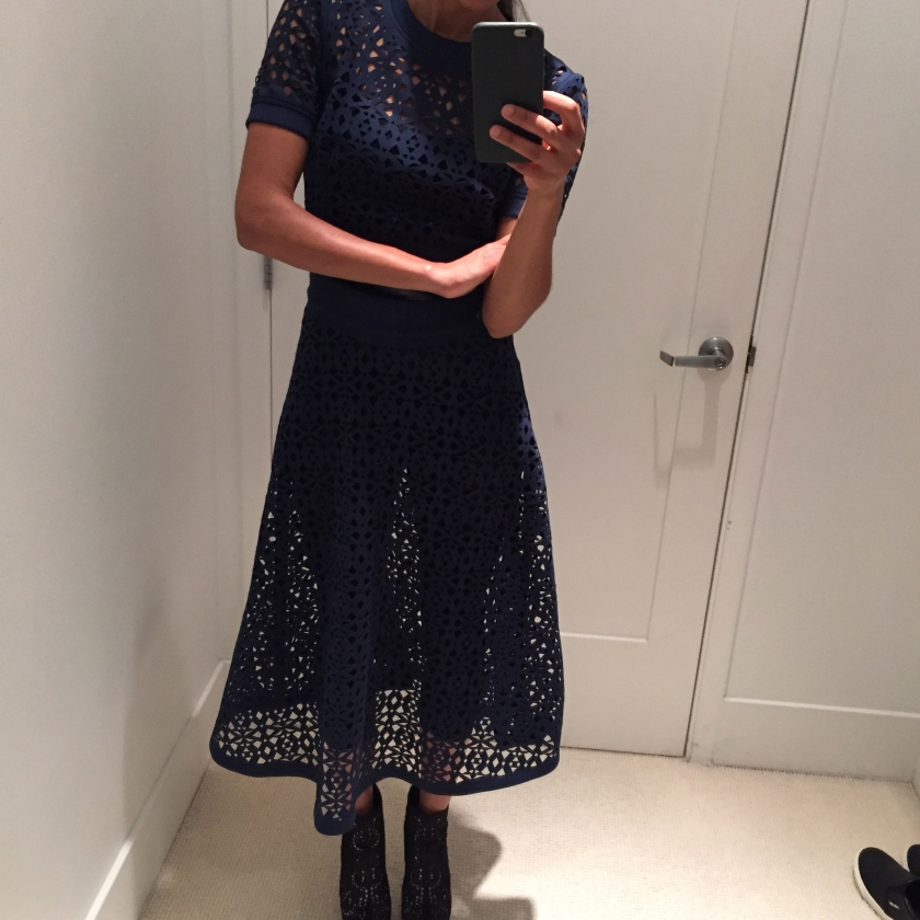 Midi skirt outfit, DKNY laser cut skirt, laser cut midi skirt