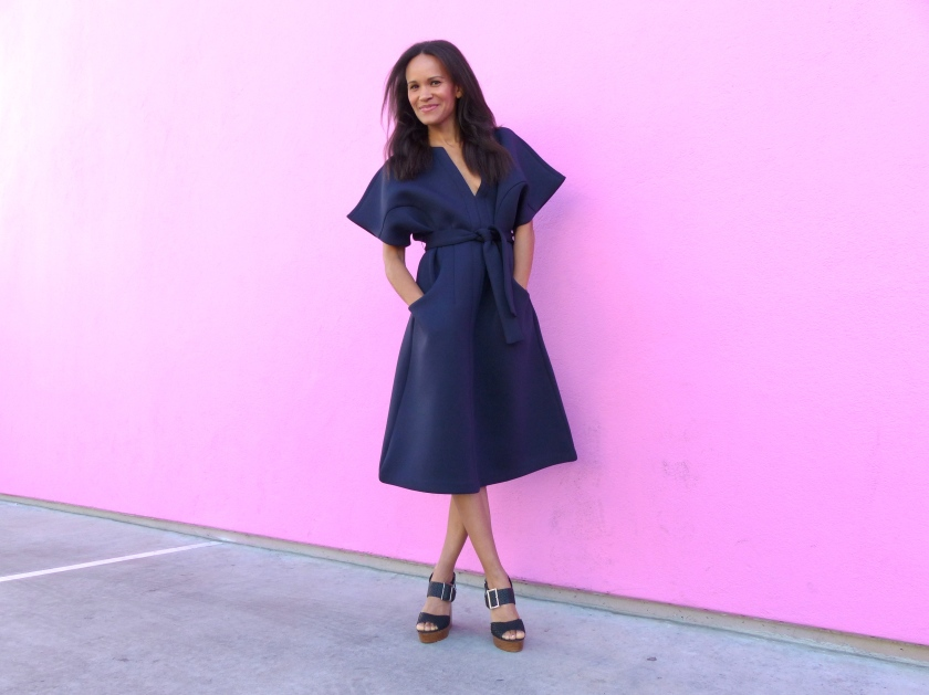 Amanda Luttrell Garrigus NastyGal scuba dress crossed legs