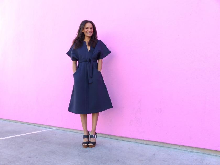 Amanda Luttrell Garrigus NastyGal scuba dress front smile