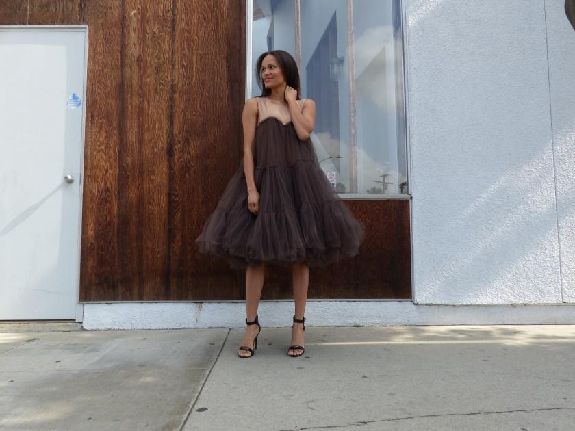 Amanda Garrigus - Black and Nude Tulle Dress