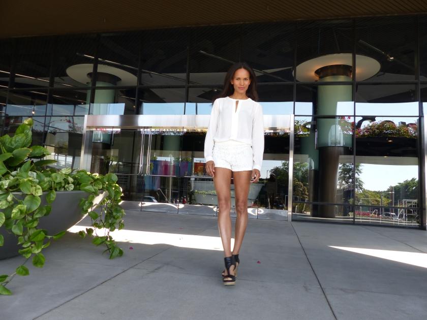 Amanda Garrigus - lace shorts, white blouse