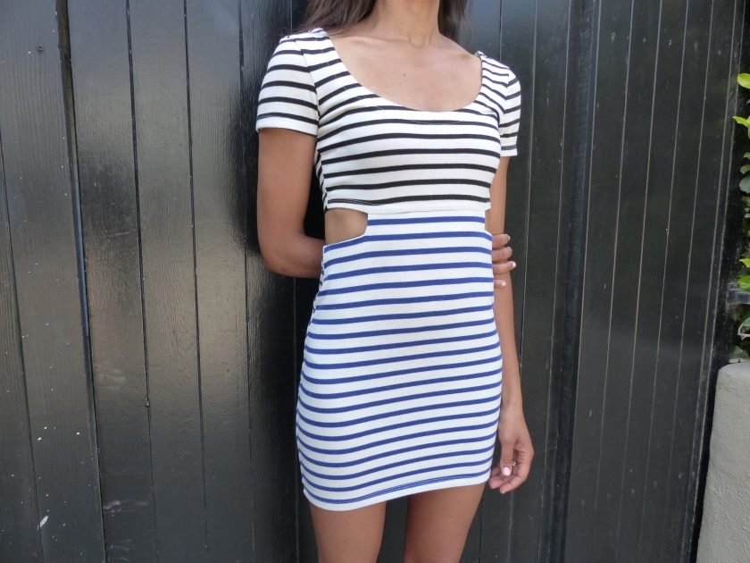 nautical mini dress, blue and black stripe dress, short sleeve cutout dress
