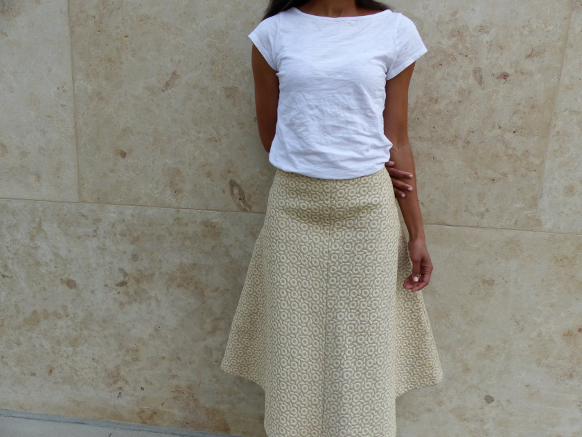 Amanda Garrigus - Midi Skirt and a White T-Shirt