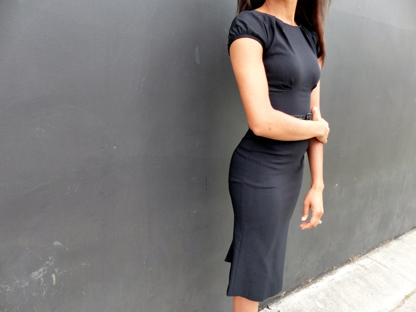 Amanda Garrigus Black Pencil Dress Stop Staring Detail