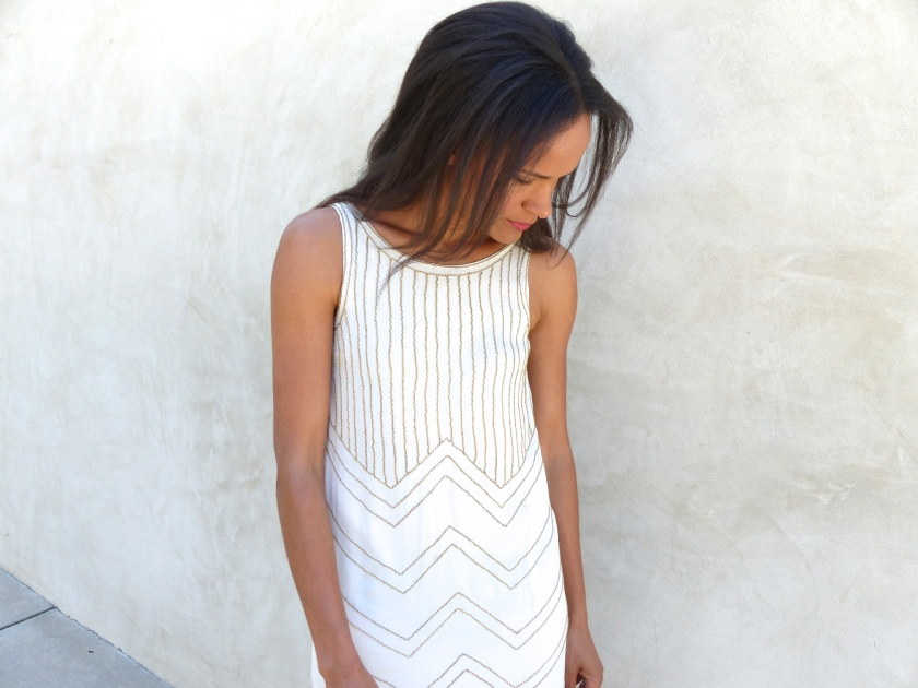 Amanda Garrigus Corey Lynn Calter Shift Dress White and Gold