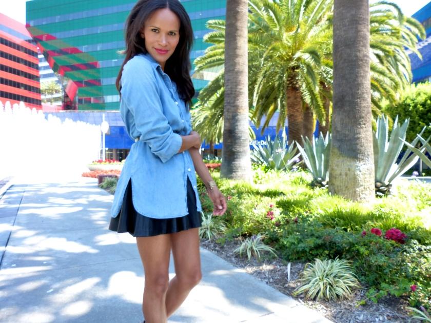 Amanda Garrigus denim shirt black skirt