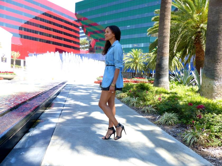 Amanda Garrigus Denim shirt pleather skirt