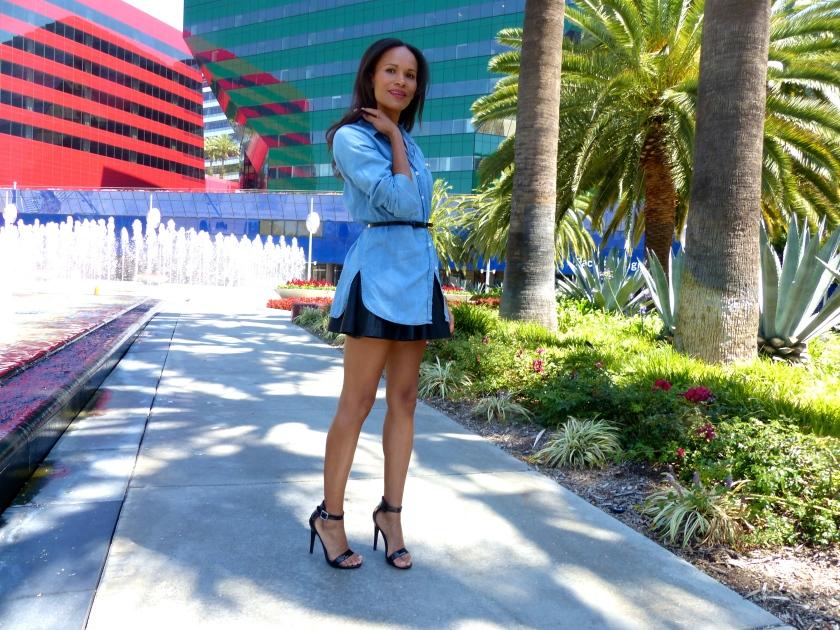 Amanda Garrigus forever 21 pleather skirt denim shirt