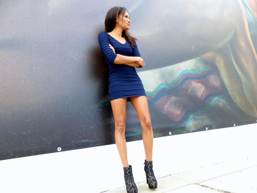 Amanda Garrigus shimmer blue forever21 bodycon dress