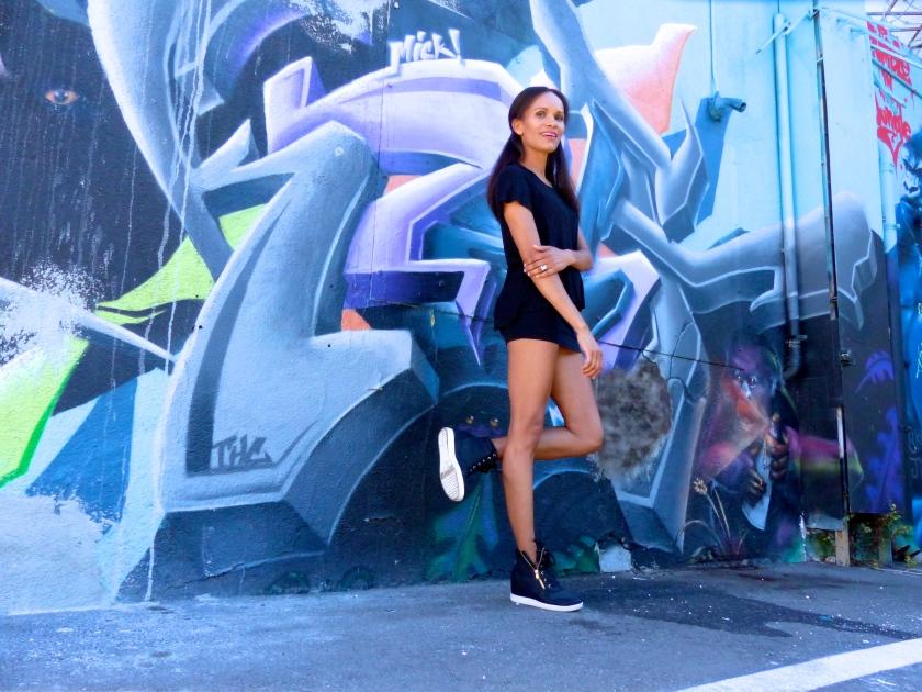 Amanda Garrigus Black t-shirt and Black and White Platform Sneakers