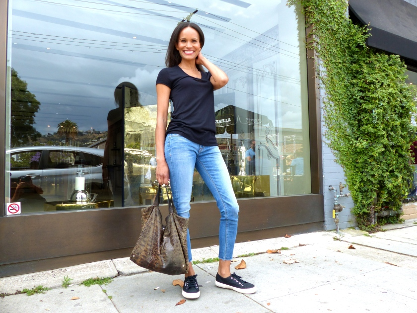 Amanda Garrigus Hudson Light Washed Jeans and Black T-Shirt