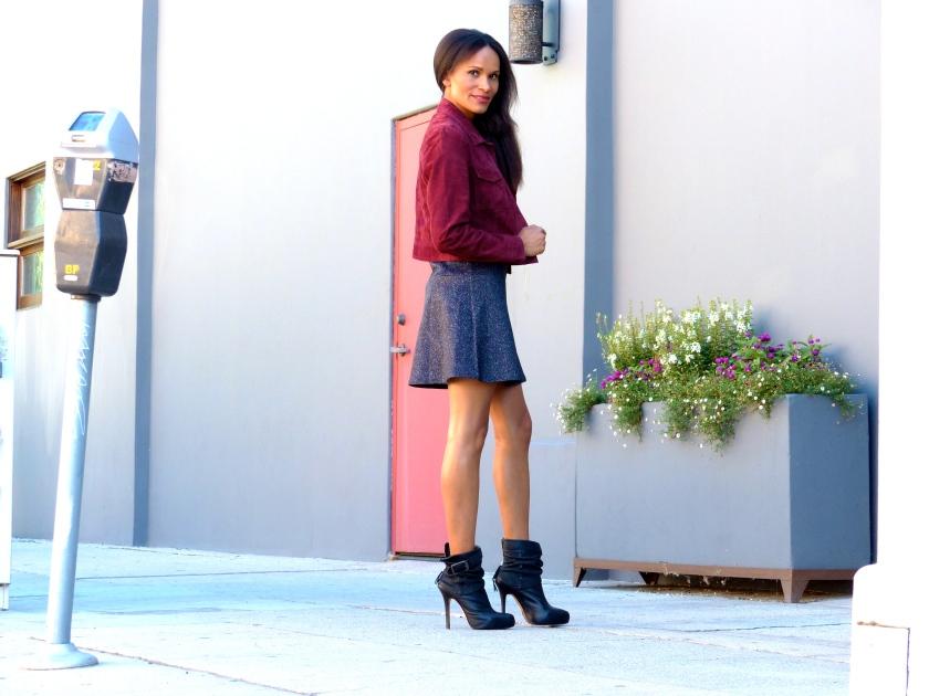 Amanda Garrigus Mini Dress and a Suede Jacket