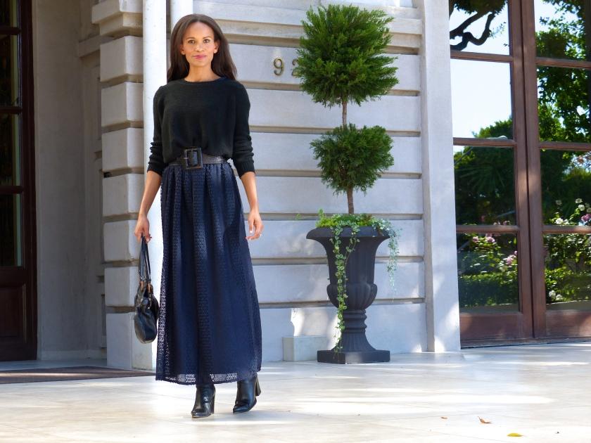 Amanda Garrigus Blue Lace Maxi Dress