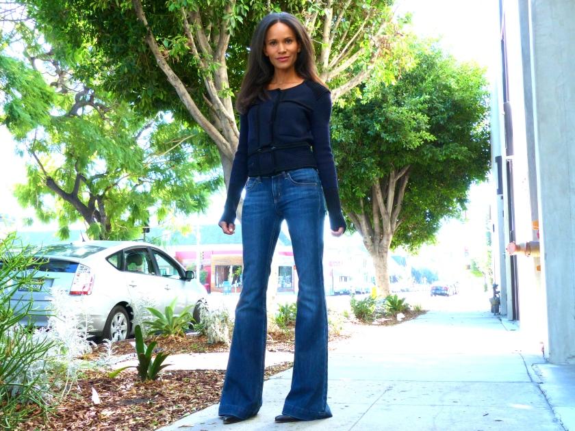 Amanda Garrigus Flared Jeans and Navy Jacket