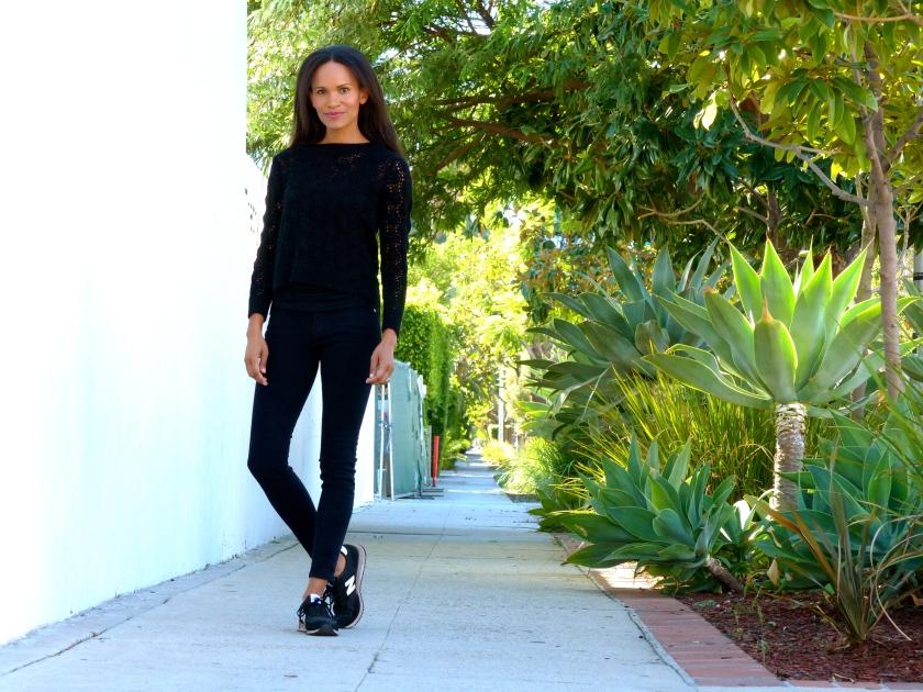 Amanda Garrigus Frame Denim and New Balance Sneakers