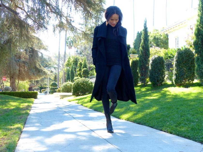 Amanda Garrigus in a Black Cornell Collins Coat