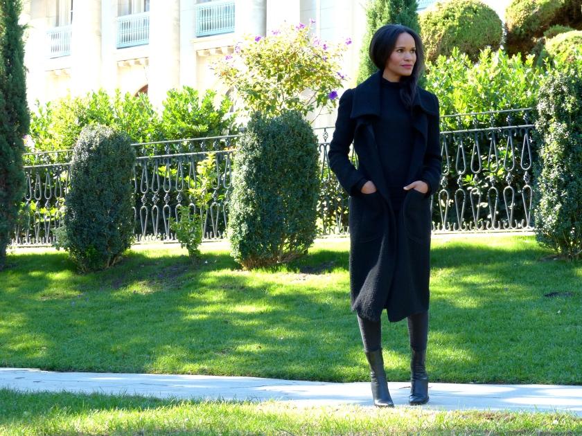 Amanda Garrigus Wearing a Black Cornell Collins Coat