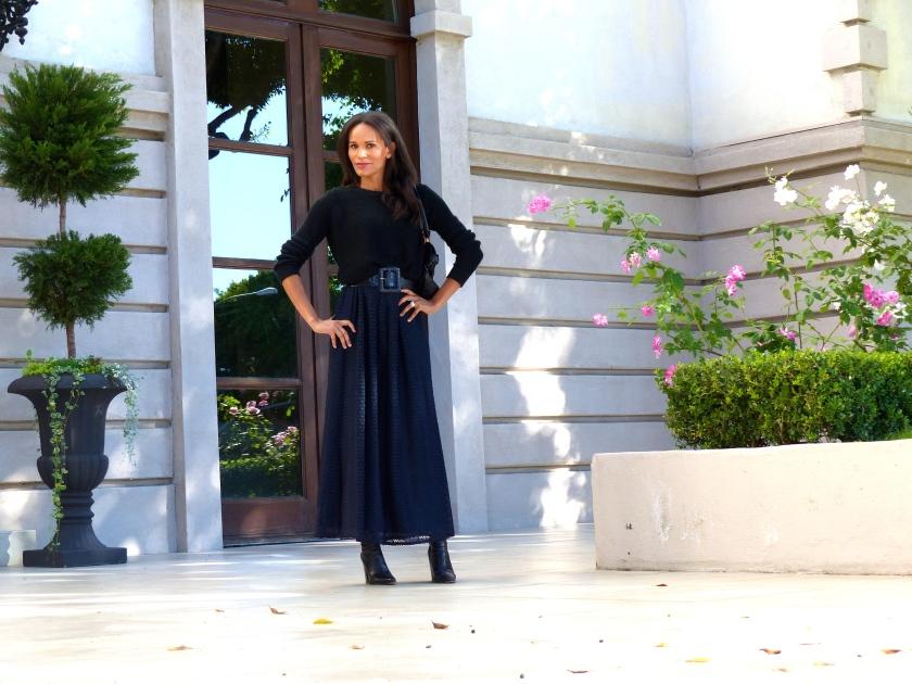 Amanda Garrigus Zara Dress Forever 21 sweater Ferragamo Bag
