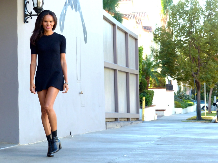Amanda Garrigus Zara LBD and Black Booties