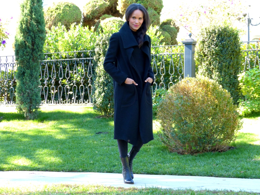 Amanda Garrigus black shawl coat