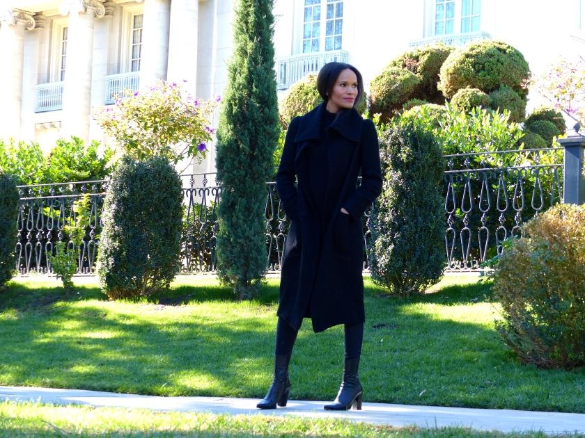 Amanda Garrigus Dramatic Black Coat by Cornell Collins