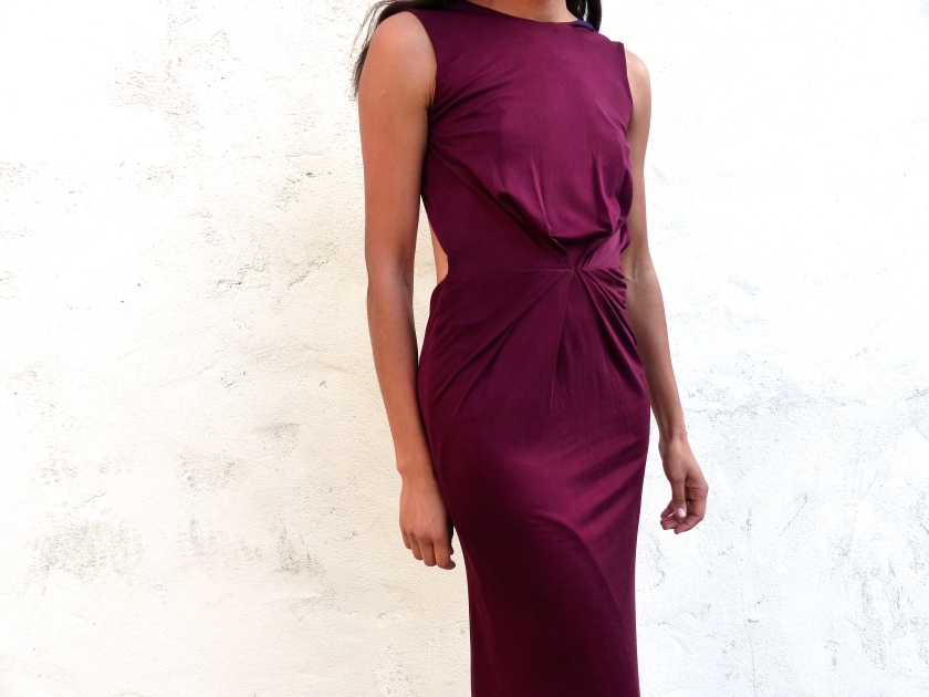Amanda Garrigus dress with front pleating