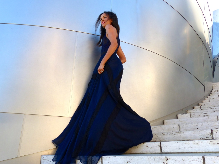 Amanda Garrigus in a Kevan Hall Gown