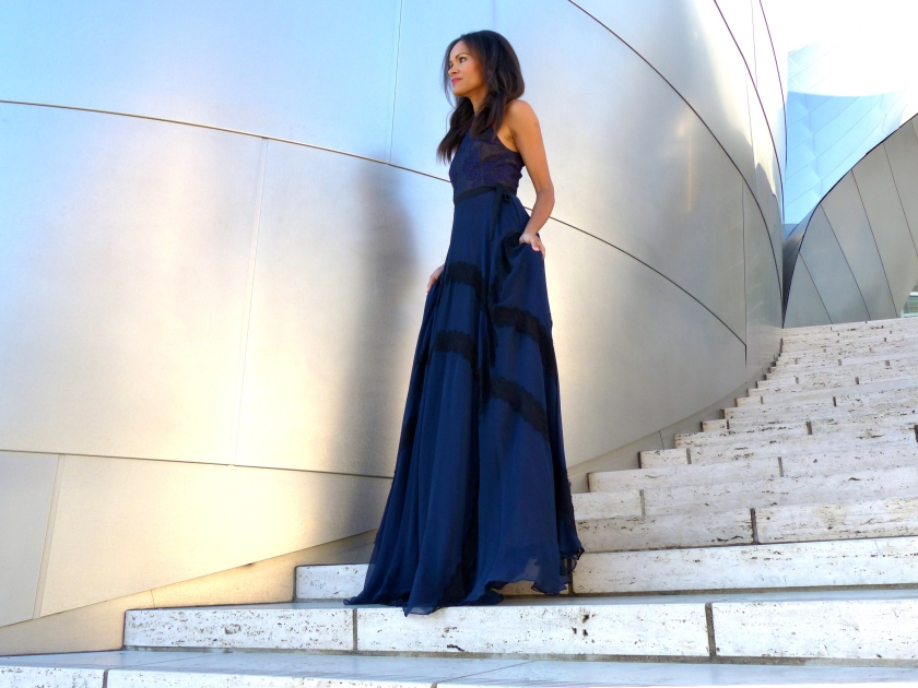 Amanda Garrigus in Kevan Hall Long Blue dress with black lace detail