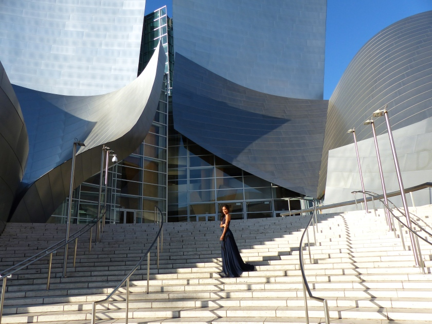 Amanda Garrigus in Kevan Hall on the steps of the Walt Disney Concert Hall