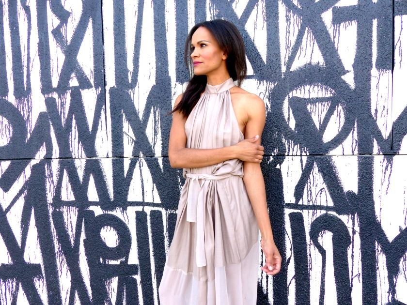 Amanda Garrigus wearing Olima Atelier at Retna Wall Los Angeles
