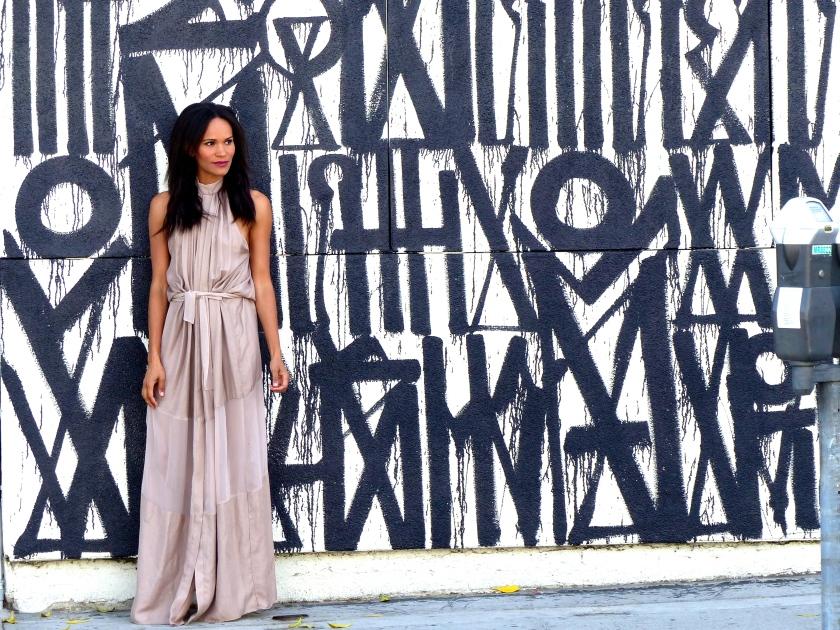 Amanda Garrigus wearing Olima Long Halter Dress