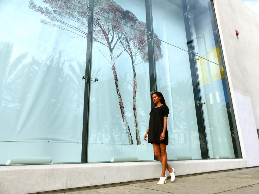Amanda Garrigus at Michael Kohn Gallery in white boots