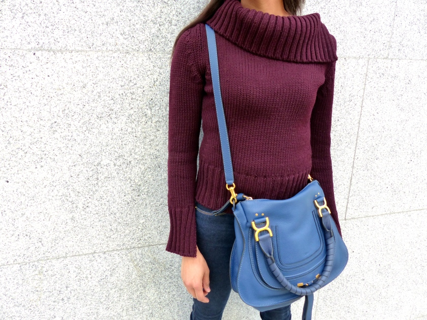 Amanda Garrigus Carrying Chloe Marci Bag in Blue with Maroon Gucci Sweater and Frame Denim Jeans