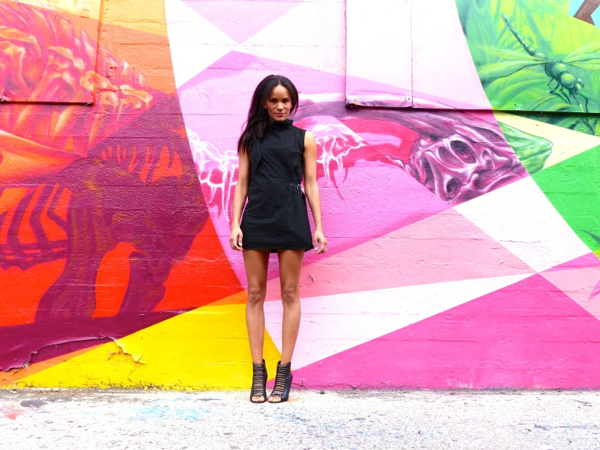 Amanda Garrigus Graffiti Wall and a black dress