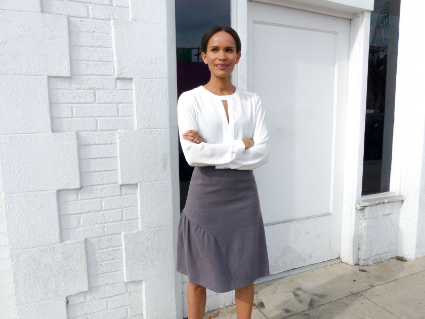 Amanda Garrigus in Cornell Collins lavender skirt