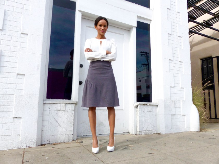 Amanda Garrigus in Cornell Collins lavender wool skirt and Forever 21 top