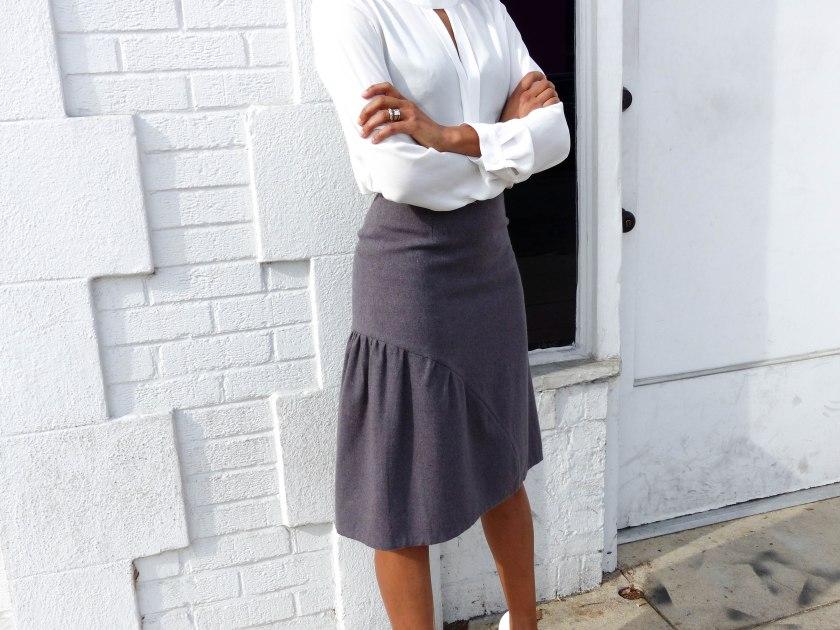 Amanda Garrigus in Cornell Collins skirt