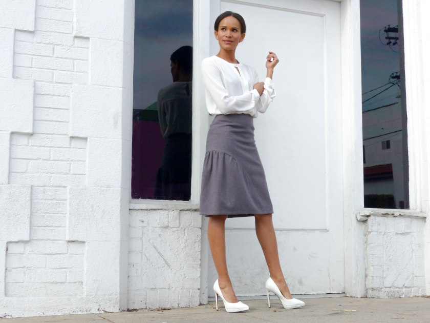 Amanda Garrigus in Cornell Collins wool skirt