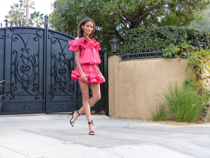Amanda Garrigus in Lavin for H&M pink off the shoulder dress