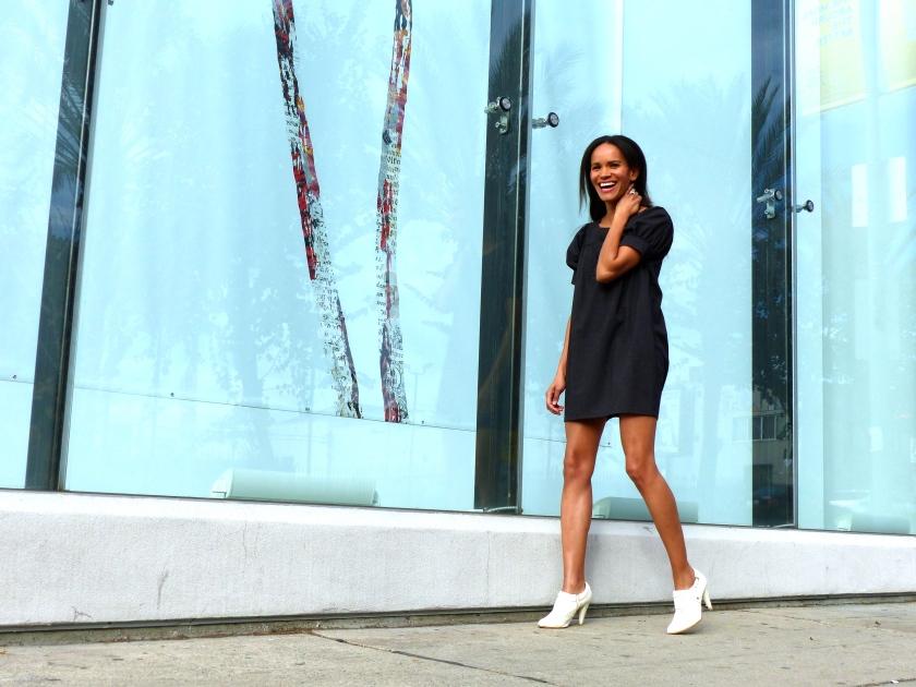 Amanda Garrigus laughing outside Michael Kohn Gallery