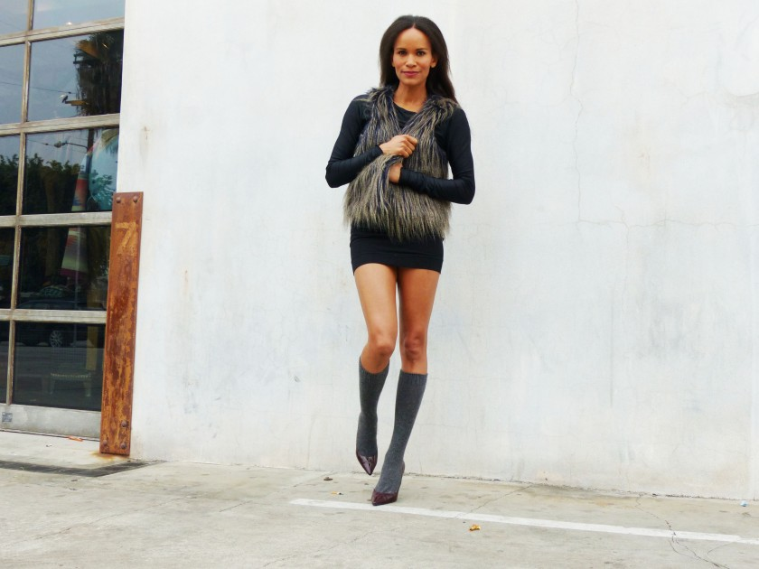 Amanda Garrigus Faux Fur Vest socks and heels 1