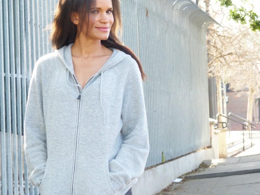 Amanda Garrigus Grey cashmere hoodie