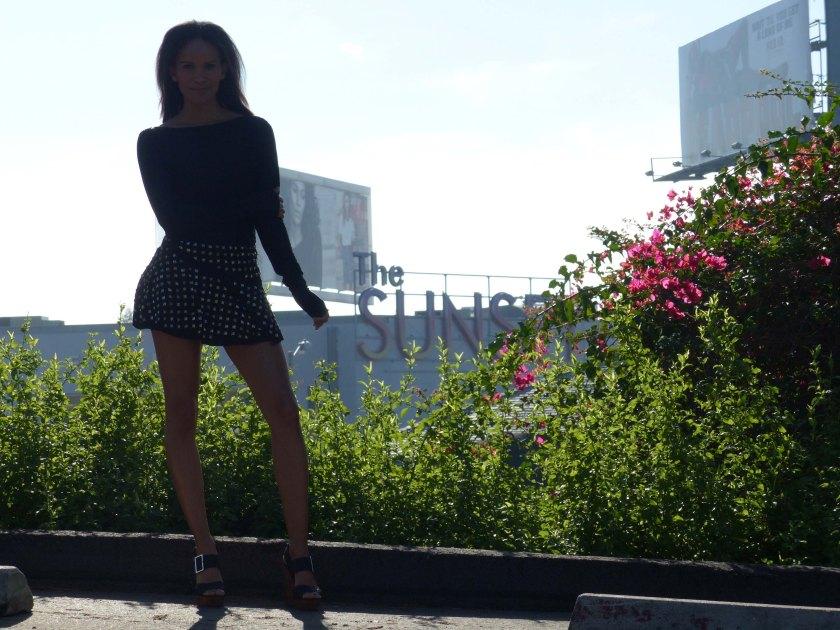 Amanda Garrigus in Black Forever 21 Studed Mini Skirt
