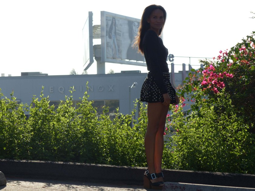 Amanda Garrigus in Black Studed Mini Skirt
