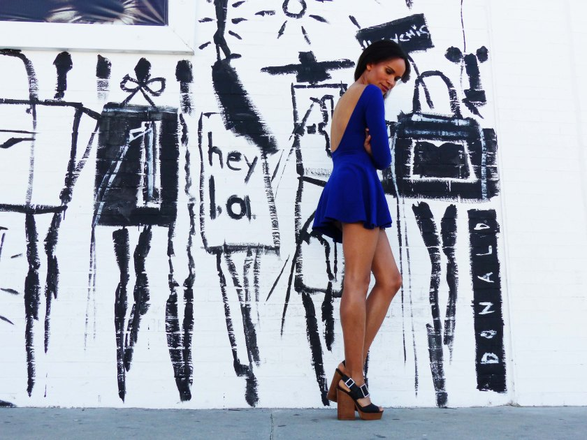 Amanda Garrigus in blue American Apparel Dress